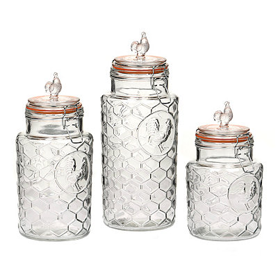 Honeycomb Rooster Kitchen Canisters, Set of 3