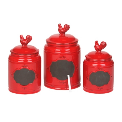 Rooster Canister Sets Kitchen Red Rooster Canisters Set of