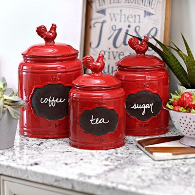 Red Rooster Canisters, Set of 3