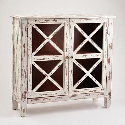 Distressed Whitewash Cabinet