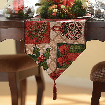 Poinsettia Tapestry Table Runner