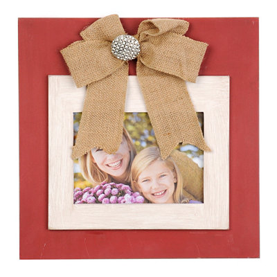 Red & White Picture Frame with Burlap Bow, 5x7