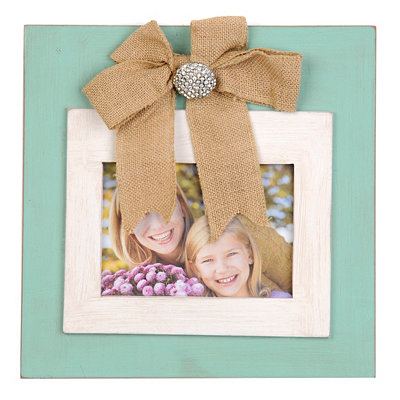 Turquoise Picture Frame with Burlap Bow, 5x7