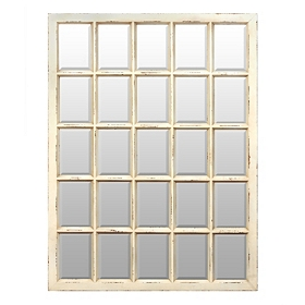 Distressed Cream Window Pane Mirror, 32x42.5