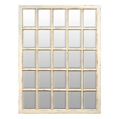 Distressed Cream Window Pane Mirror, 32x42.5