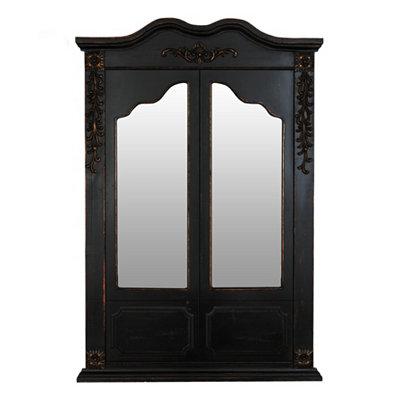 Distressed Black Doors Mirror, 33x50