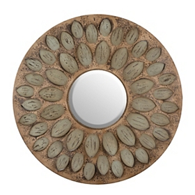 Round Leaf Framed Mirror, 37 in.