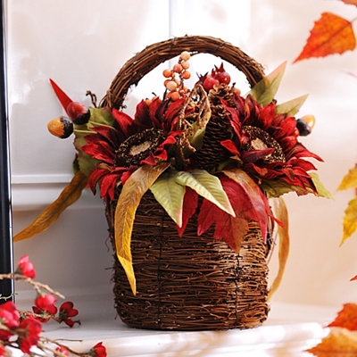 Burgundy Sunflower Floral Basket
