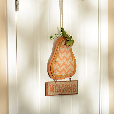 Burlap & Beadboard Welcome Plaque
