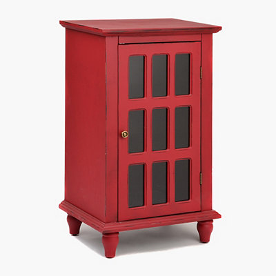 Antique Red Window Pane Accent Cabinet