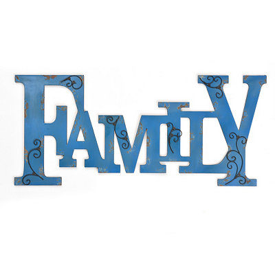 Distressed Blue Family Wall Plaque