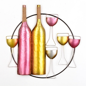 Vibrant Vintage Wine Bottle Wall Art