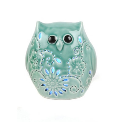 Teal Owl Night Light LED Statue