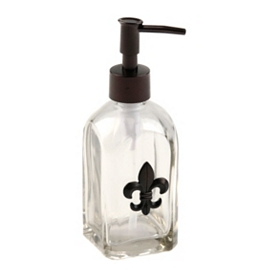 Glass Soap Pump with Bronze Fleur-de-lis