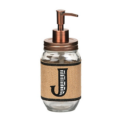 Burlap-Wrapped Monogram J Soap Dispenser