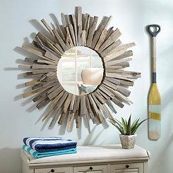 Rustic Driftwood Sunburst Mirror