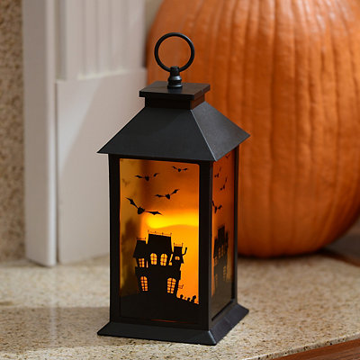 Black Haunted House Lantern with LED Candle
