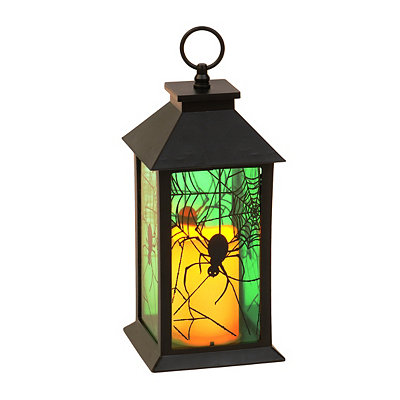 Black Spider Web Lantern with LED Candle
