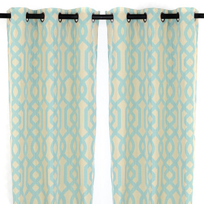 Aqua Gate Hill Curtain Panels, 108 in.