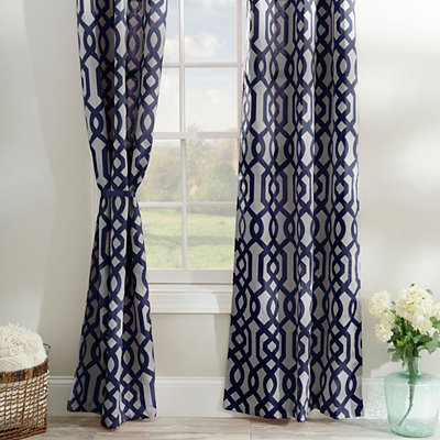 Navy Gate Hill Curtain Panel Set, 84 in.