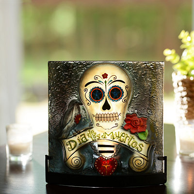 Day of the Dead Skull Tealight Candle Holder