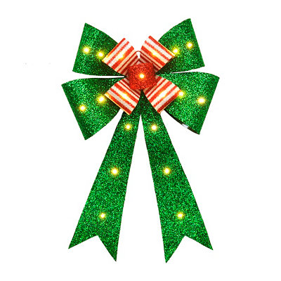 Pre-Lit Red & Green Tinsel Door Bow