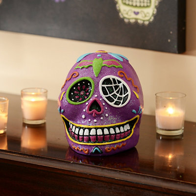 Purple Day of the Dead Skull Statue