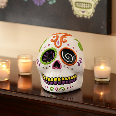 White Day of the Dead Skull Statue