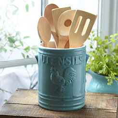Aqua Vintage Rooster Utensil Holder