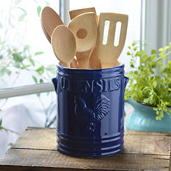 Cobalt Vintage Rooster Utensil Holder