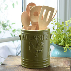 Green Vintage Rooster Utensil Holder