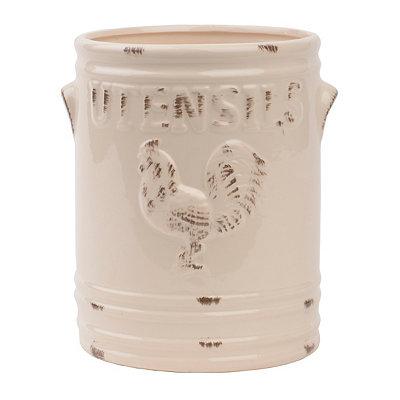 Ivory Vintage Rooster Utensil Holder