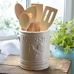 Ivory Vintage Rooster Utensil Holder