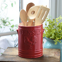 Red Vintage Rooster Utensil Holder