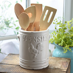 White Vintage Rooster Utensil Holder
