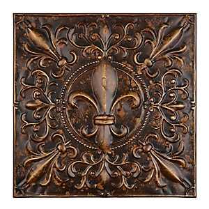 Embossed Bronze Fleur-de-Lis Metal Tile