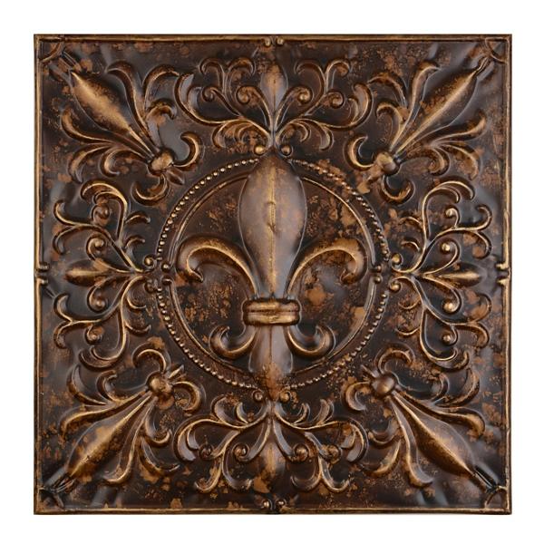 Amazing Embossed Bronze Fleur De Lis Metal Tile Part 10