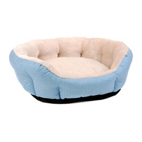 Blue Corduroy Print Pet Bed