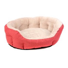 Red Corduroy-Print Pet Bed