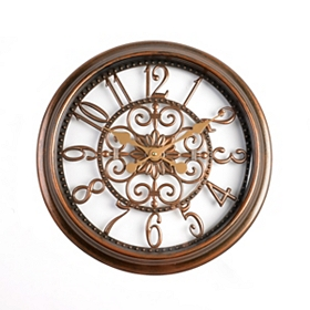 Antiqued Brown Scrollwork Cutout Clock