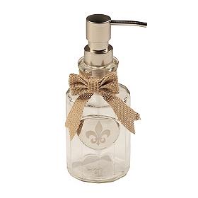 Silver & Burlap Fleur-de-lis Soap Dispenser