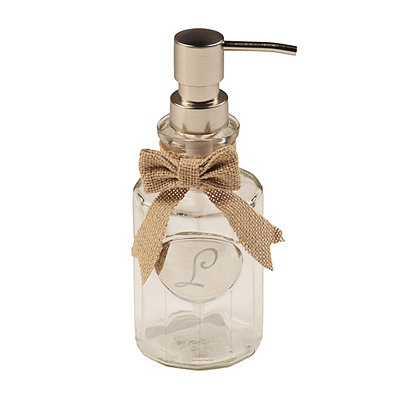 Silver & Burlap Monogram L Soap Dispenser