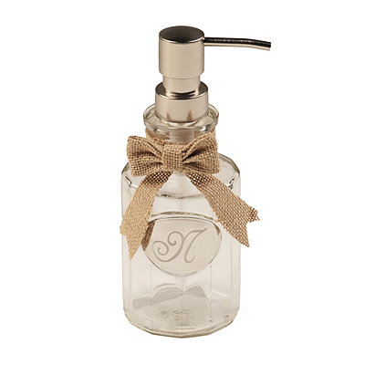 Silver & Burlap Monogram N Soap Dispenser