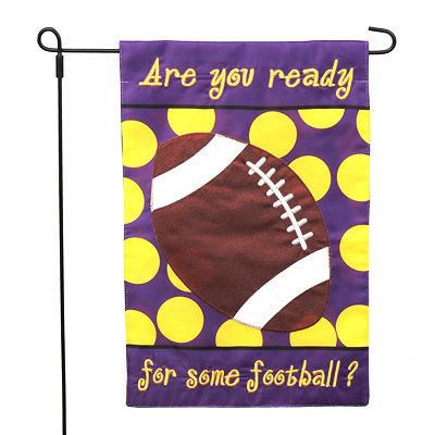 Purple Ready for Football Garden Flag