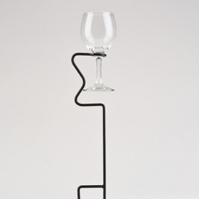 Black Yard Stake Wine Glass Holder