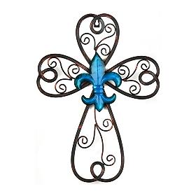 Blue Scrollwork Fleur-de-lis Cross Plaque