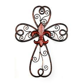 Red Scrollwork Fleur-de-lis Cross Plaque
