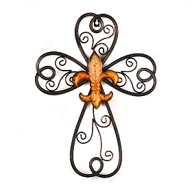 Orange Scrollwork Fleur-de-lis Cross Plaque