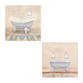 Blue Bathroom Canvas Art Prints, Set of 2