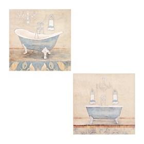 Blue Bathroom Canvas Art Prints, Set of 2
